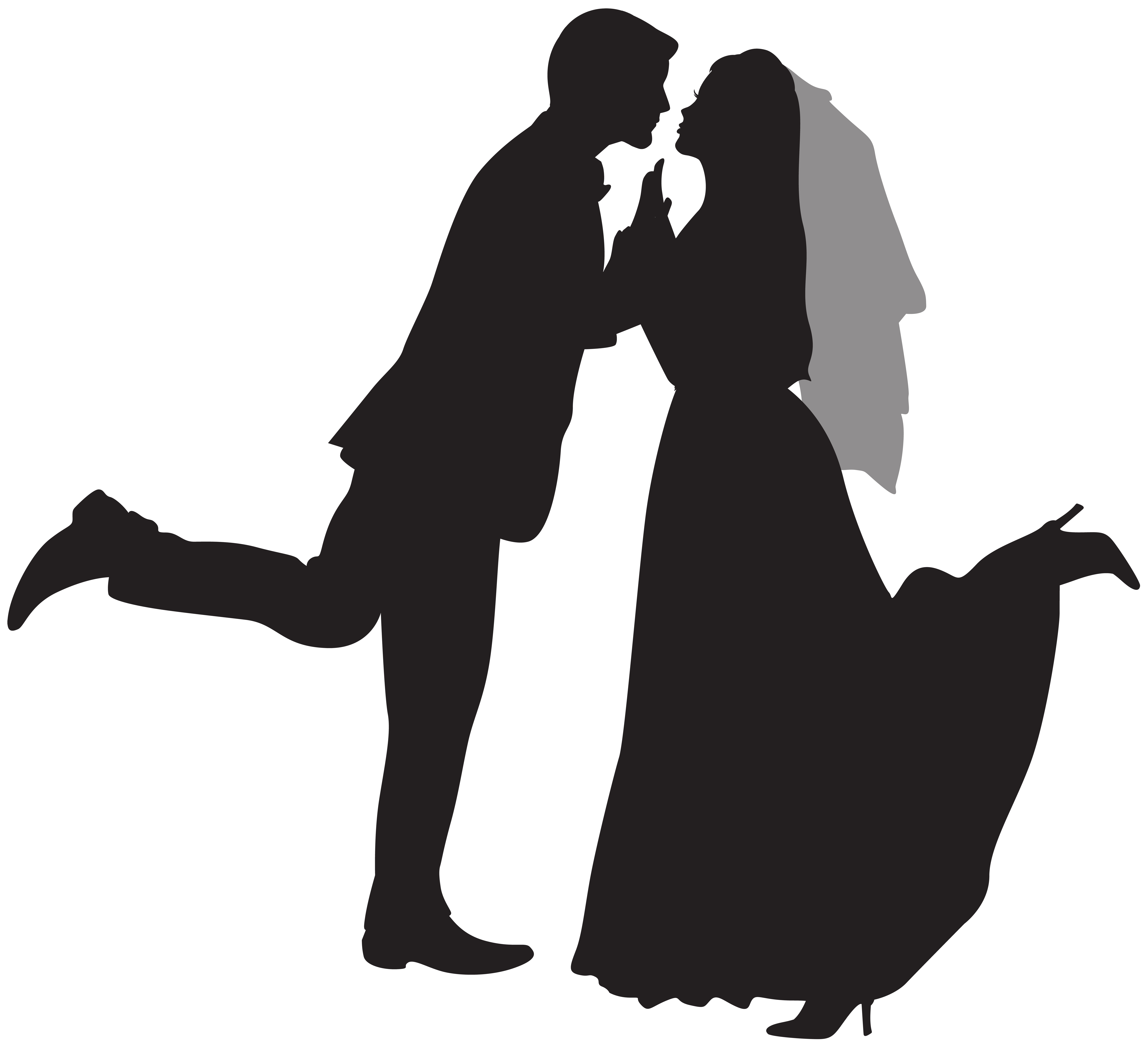 Groom And Bride Silhouette PNG Transparent Image