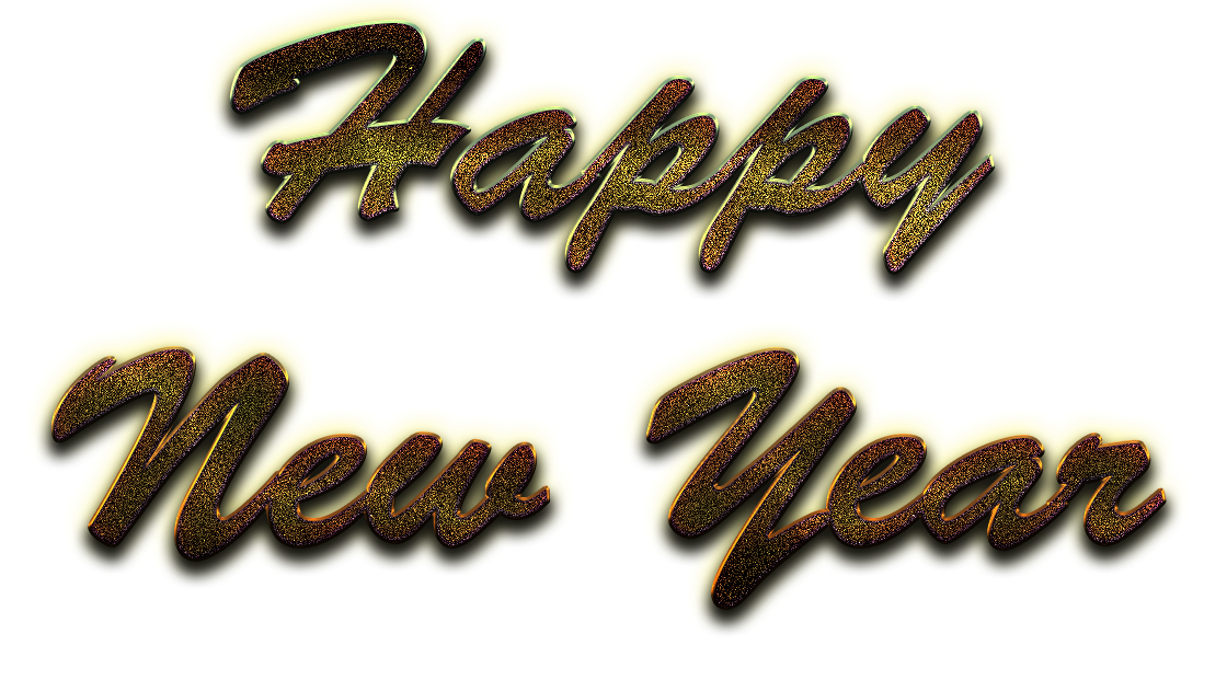 Happy New Year Word Art PNG Image Background