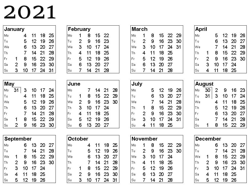 Calendar 2021 PNG Photo